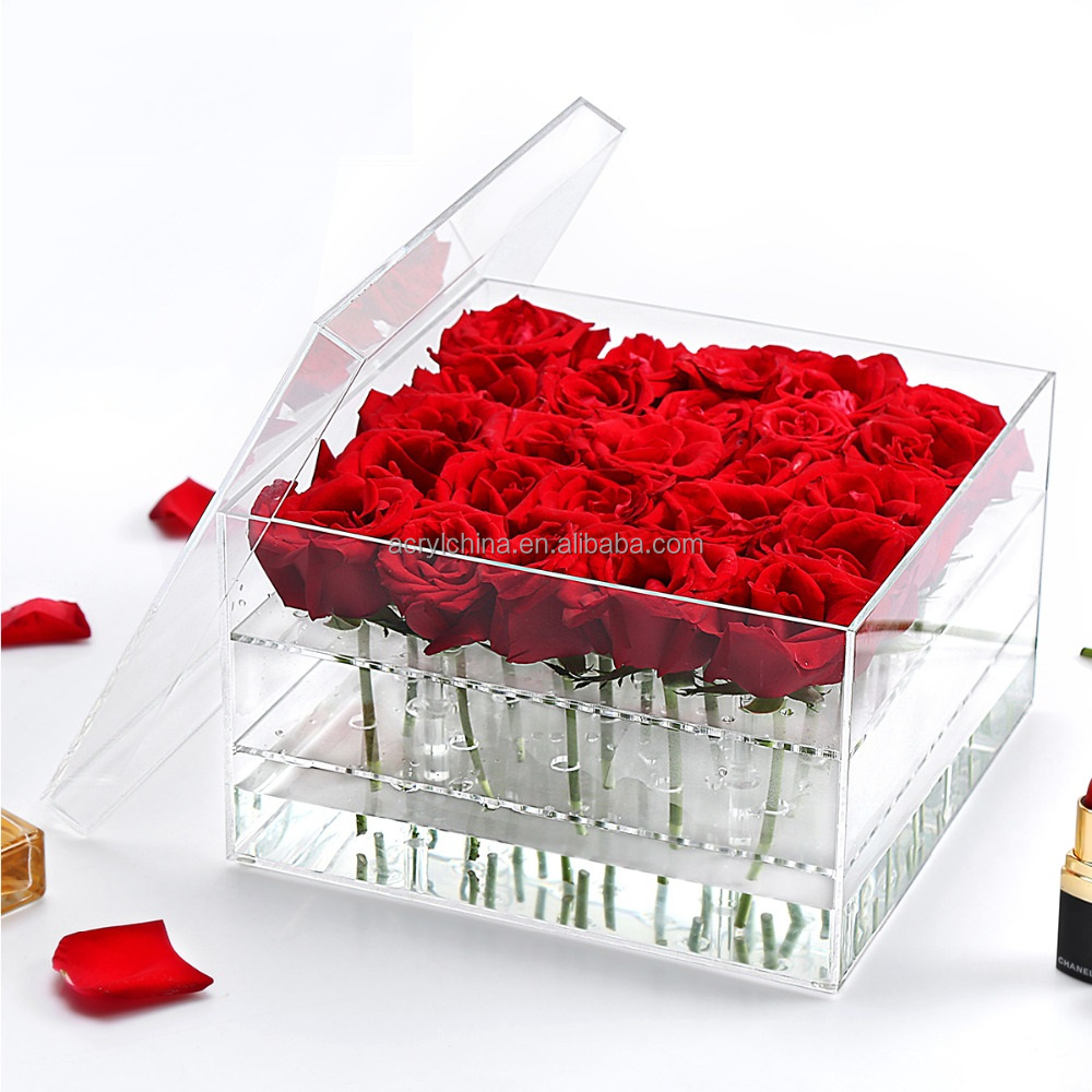 Hot Sale Acrylic Fresh Rose Flower Box With Lid