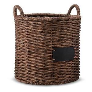 Smith & Hawken Round Decorative Basket with Chalkboard - Dark Finish by Smith & Hawken