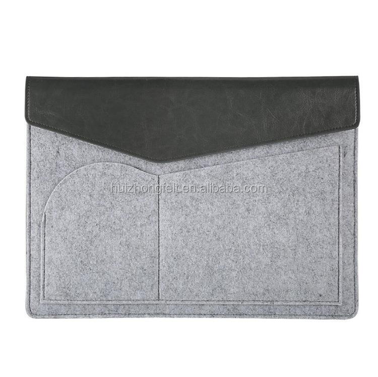 ग्रे बिजनेस ऊन/पॉलिएस्टर महसूस किया लैपटॉप आस्तीन मामले को कवर थैला पाउच 13,15 inch