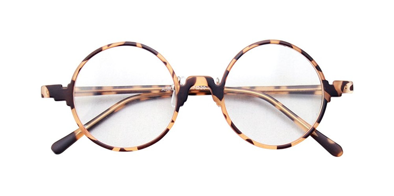 ef3088636a5d Get Quotations · Vintage Retro Round Amber Leopard Tortoise Shell Eyeglass  Frames Spectacles RX