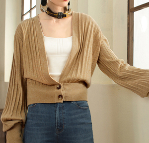 P18B164TR silk cashmere knitted lady cardigan sweater coat