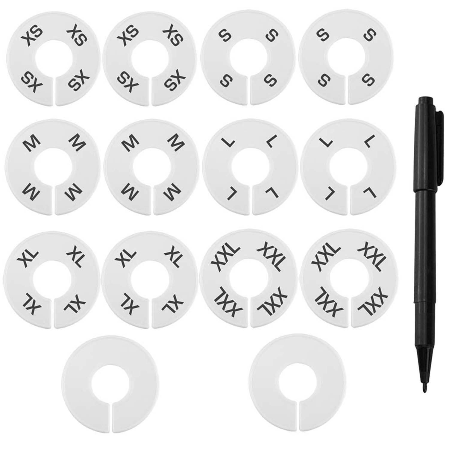Blulu Clothing Size Dividers Closet Round Hangers Dividers 14 Pieces with Marker Pen, Blank and Size XS to XXL