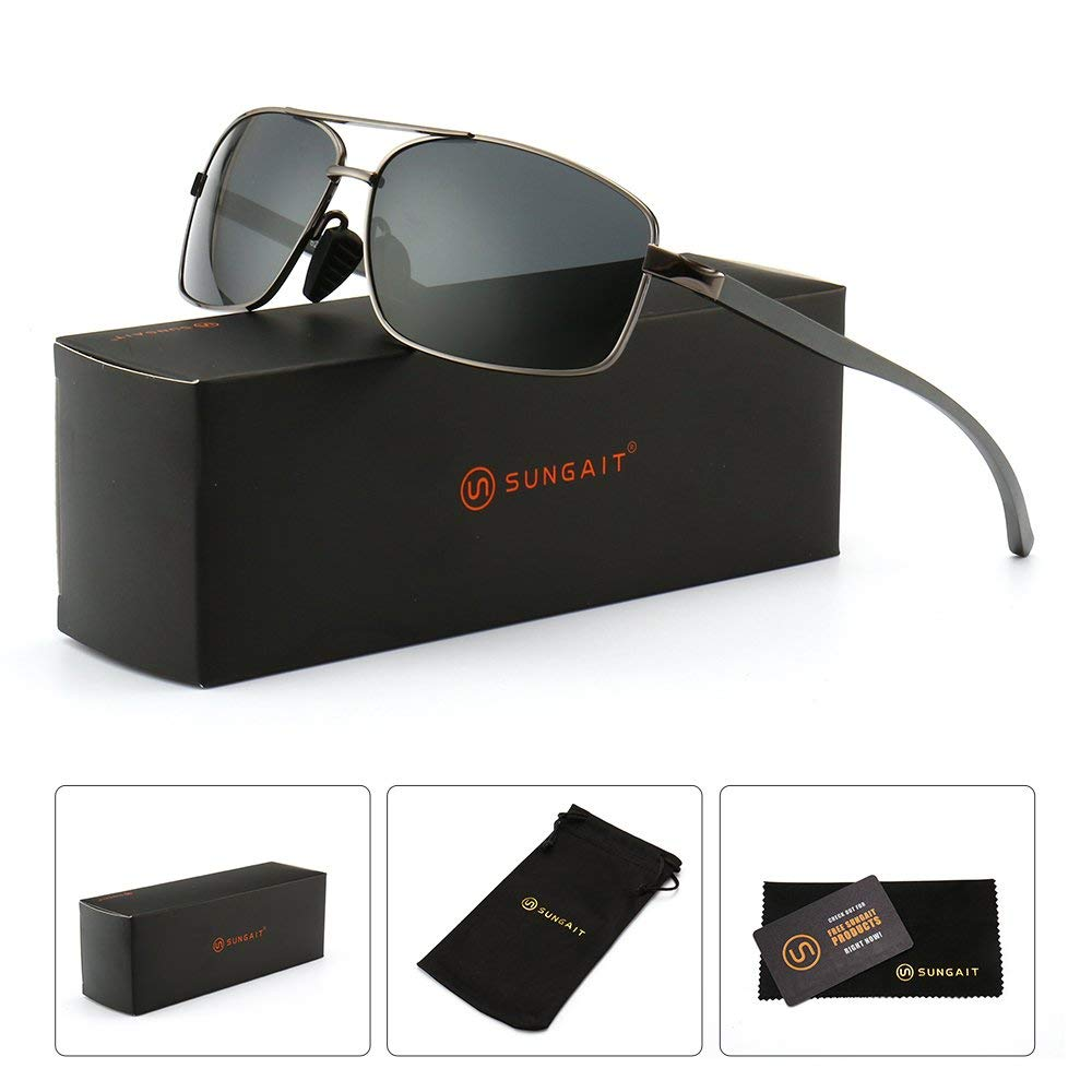 50d2ed7a580 Get Quotations · SUNGAIT Ultra Lightweight Rectangular Polarized Sunglasses  100% UV protection