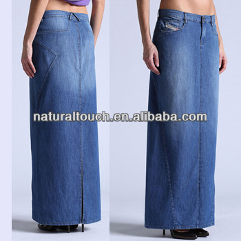 Women's Straight Line Long Wash Denim Skirt Casual Skirt (ntf04016 ...
