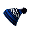 Unique funny winter ladies hats outdoor winter beanie knite hats white and blue jacquard beanie with top pom pom