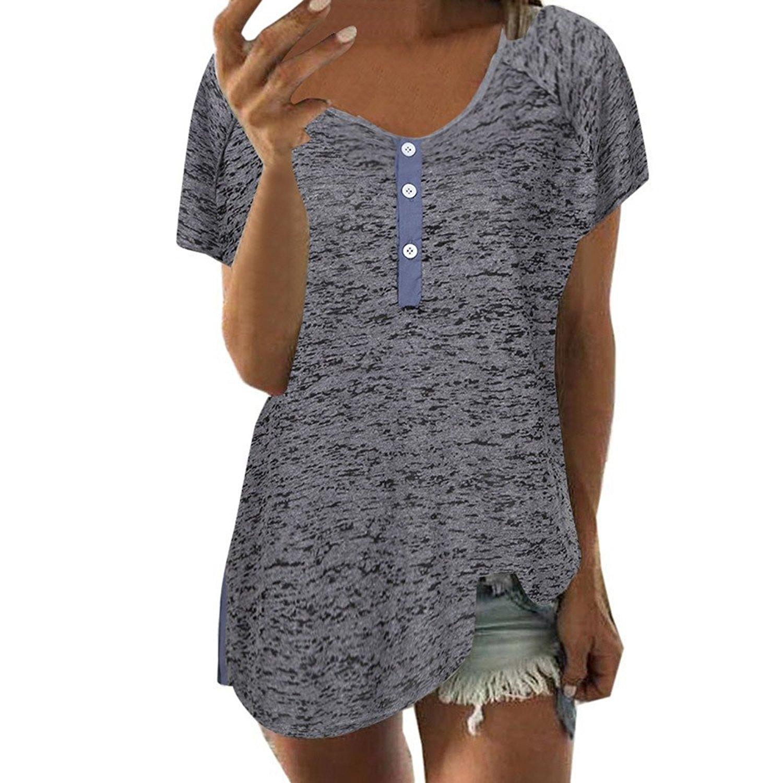 Hengshikeji Clearance Womens Short Sleeve Loose Casual Button Blouse T Shirt Tank Tops Teen Girls