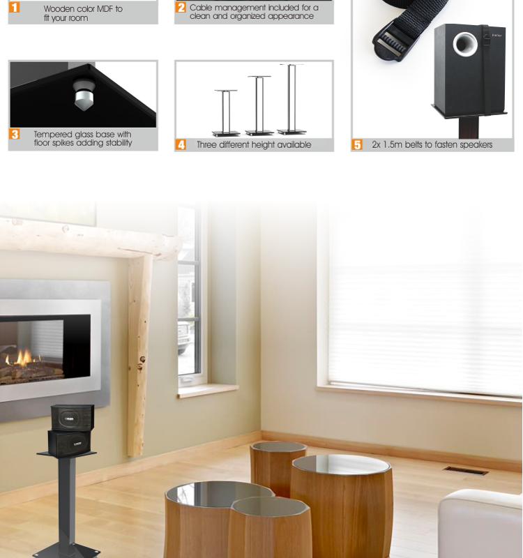DIY Materials Aluminum Glass and Wood Bookshelf Speaker Stand 23 6