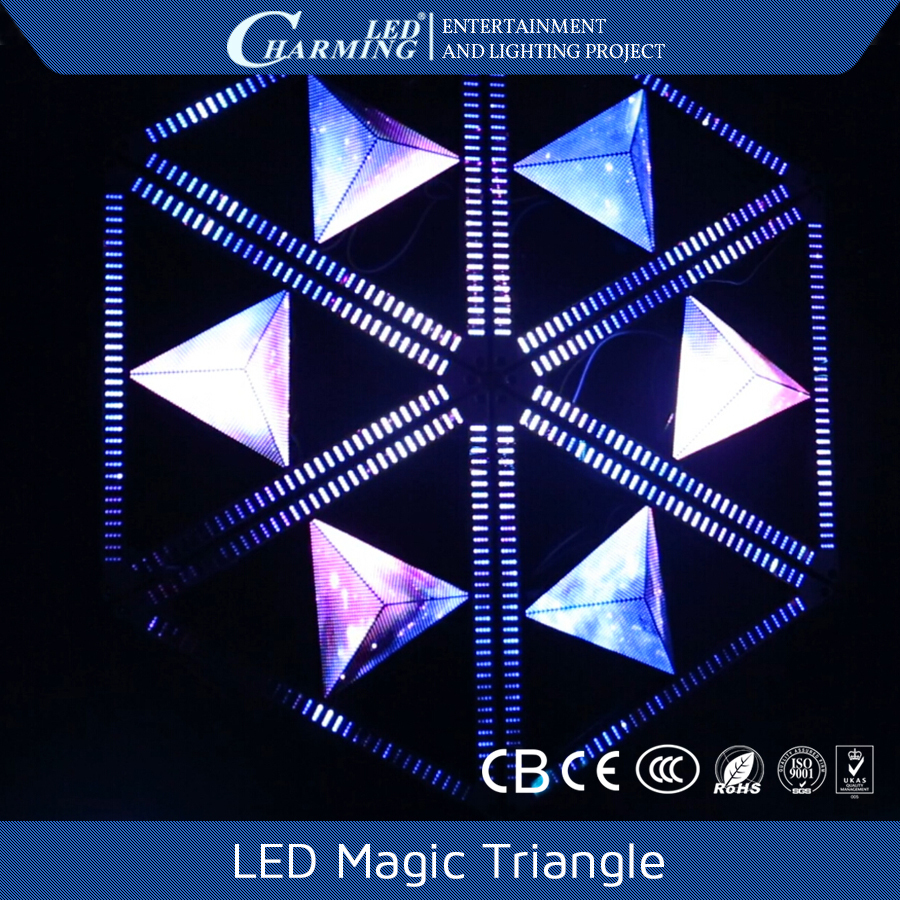 Best decorate led video display special triangle display for nigh club/ stage/ bar/ disco