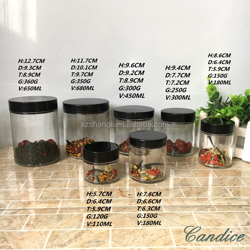 stocked 240ml 8oz round glass jar with plastic black cap