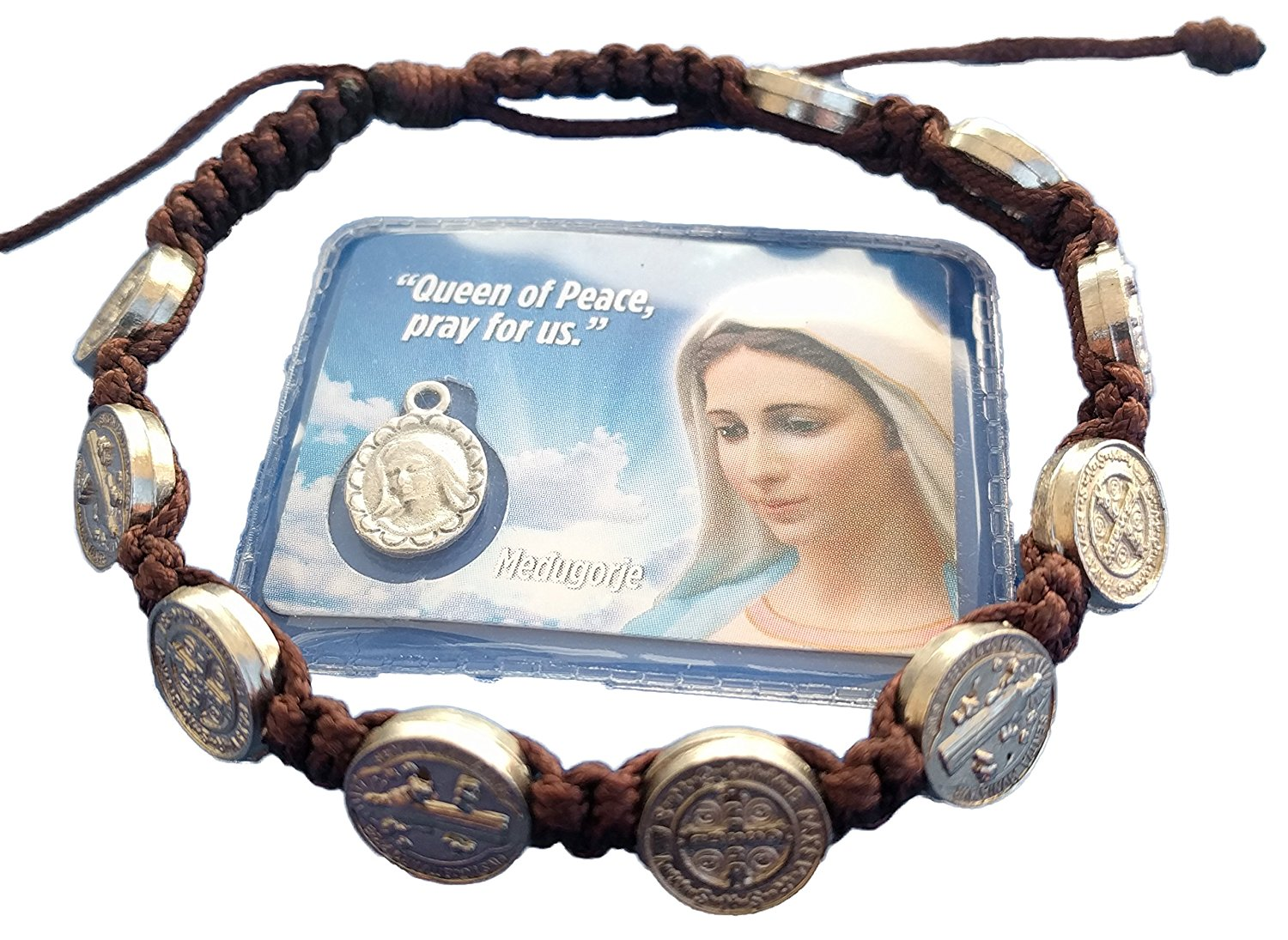 St. Saint Benedict Bracelet Medal / Adjustable Prayer Brown Cord From Medjugorje + Holy Card