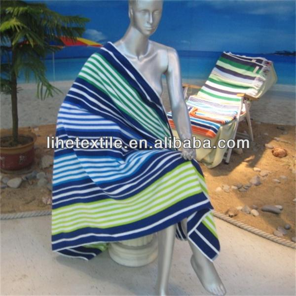 High quality Cotton dobby yarn-dyed stripe velour beach towel