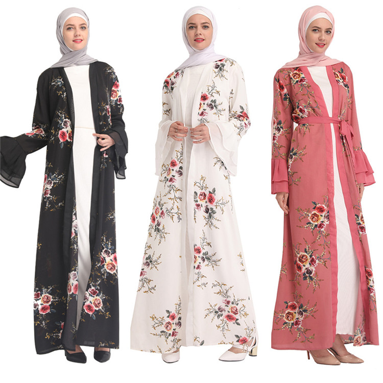 Flower 2019 New Fashion Fashionable Pakistan Abaya Pink Lungo Bolero Cardigan Turkey