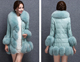 Lady's Fashion Rex Rabbit Fur Long Garments WIth Fox Fur Collar And Sheep Fur leather Sleeve