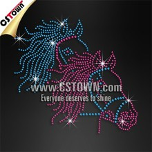 Horses custom crystal hot fix fabric rhinestone transfer