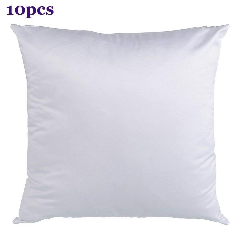 Retermit 10 pcs 15x15 inch White Sublimation Pillow case Blank Pillow Cover for DIY Sublimation Plain Burlap Cushion Cover Embroidery Blanks(40x40cm)