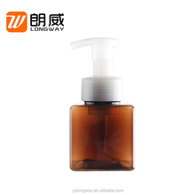 Wholesale 250ml empty brown square plastic PETG foaming hand washing soap pump bottles