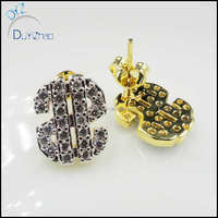 yiwu factory custom wholesale Best sale latest dollar shape earrings hip hop jewelry earrings for men
