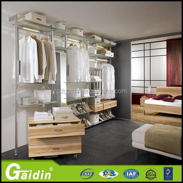 New Model Durable Aluminum Bedroom Closet Assemble Minimalist Style Wardrobe  Pole System