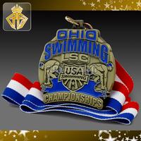 OHIO Antique Brass Soft Enamel Medal