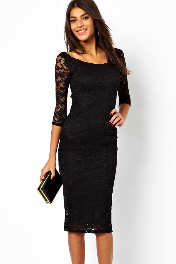 Get Quotations · Pretty Lady Black Lace Overlay Evening Midi Dresses LC6287  2015 summer dress for women vestidos femininos ead82989b