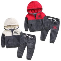 Wholesale Children Coffee Clothing Set Hip Hop Zip Lines Child Clothes For Kids Wear