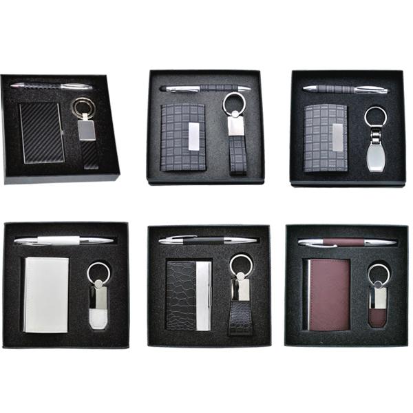 Luxury Gift Set Stone Pattern Pu Leather Business Card Holder Pen