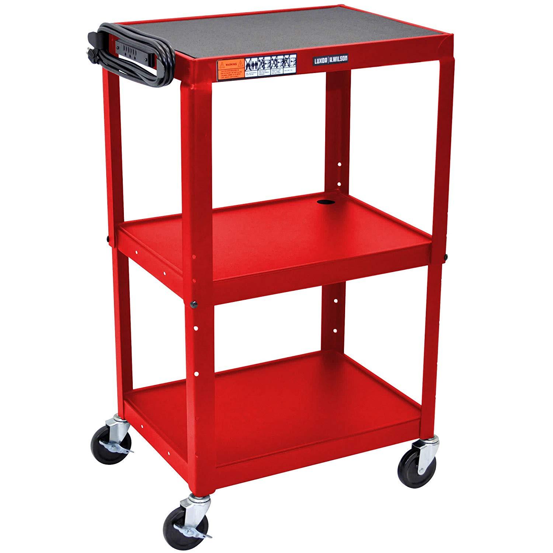 "TableTop King AVJ42 Red 3 Shelf A/V Utility Cart 24"" x 18"" - Adjustable Height"