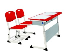 Adjustable high quality school furniture two seats student desk and chairs