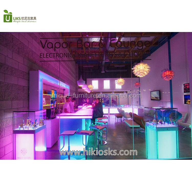Retail vapor bar store furniture electronic cigarette store display furniture design with LED light