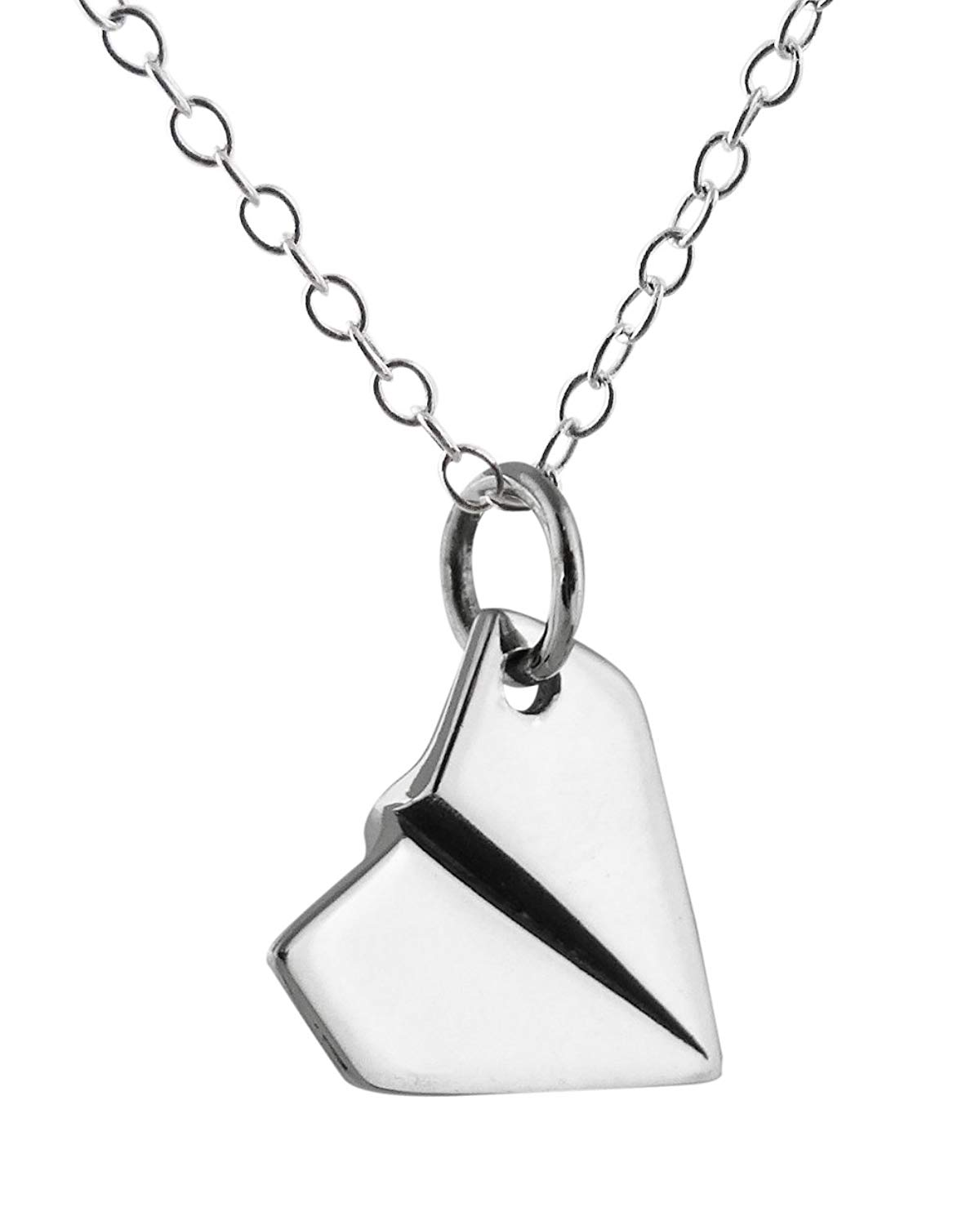"""Sterling Silver Small Paper Airplane Pendant Necklace, 18"""" Chain"""