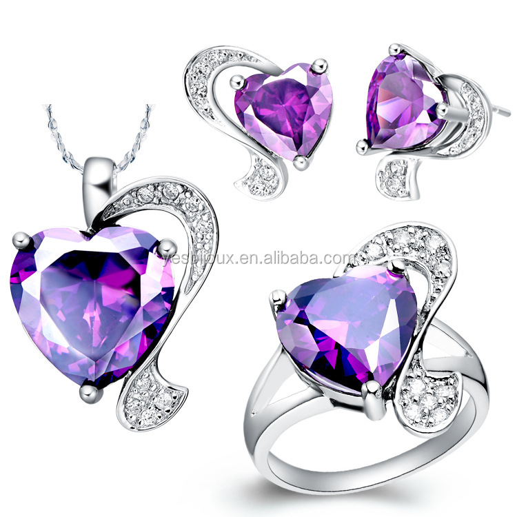 platinum Plated Austrian Crystal Ring Earrings Necklace Jewelry Set