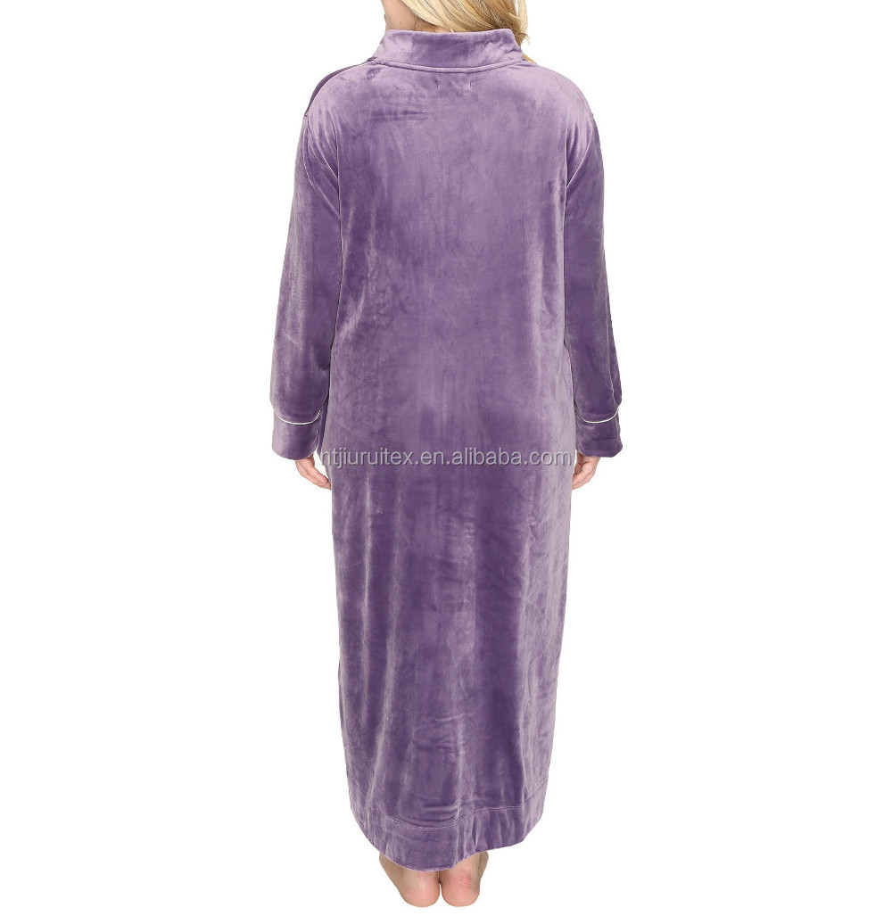 Shining Ankle Length Side Pockets Front Zipper Plush Velour Robe ... 435ccf10a