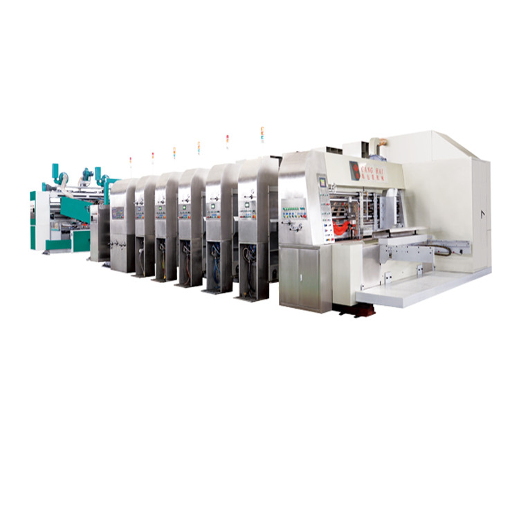 Carton box machine auto flexo printing slotting die-cutting with in a line folder gluer machine