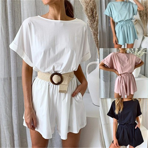 DCJ-193004 women's fashion dresses loose cotton t shirt unsexy jumpsuit for girls ready to ship