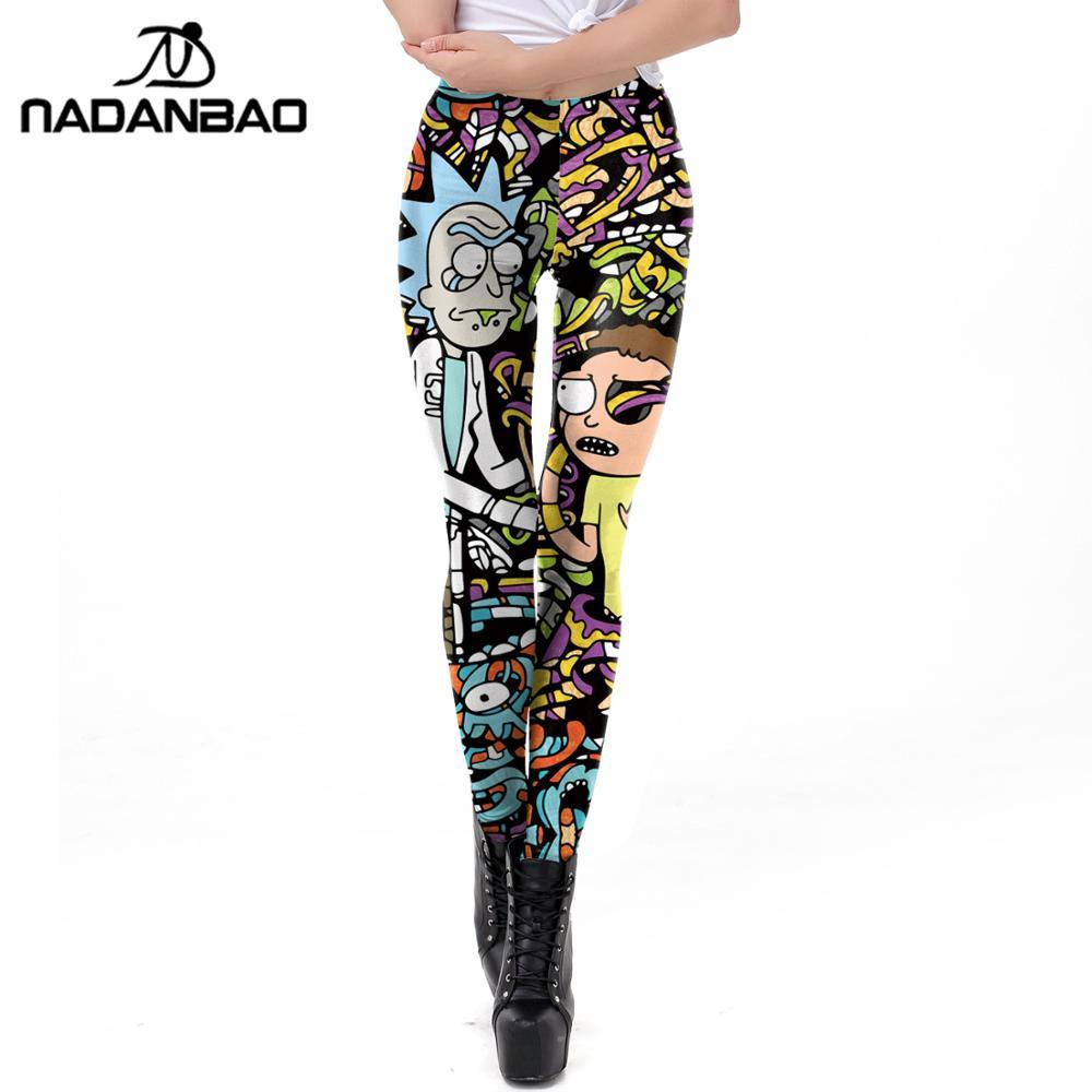 Nadanbao di marca delle signore del commercio all'ingrosso stampa personalizzata leggings Rick e Morty Comic cartone animato 3d stampato collant donna leggings