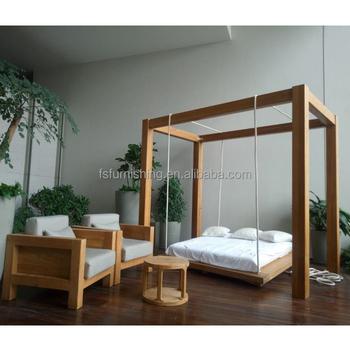 Luxury Solid Wood Teak Bed Set Garden Modern Cool
