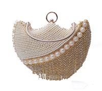 Christmas Diamond Tassel Pearl Beaded Bag Evening Pu Box Clutch With Metal Handle Shipping