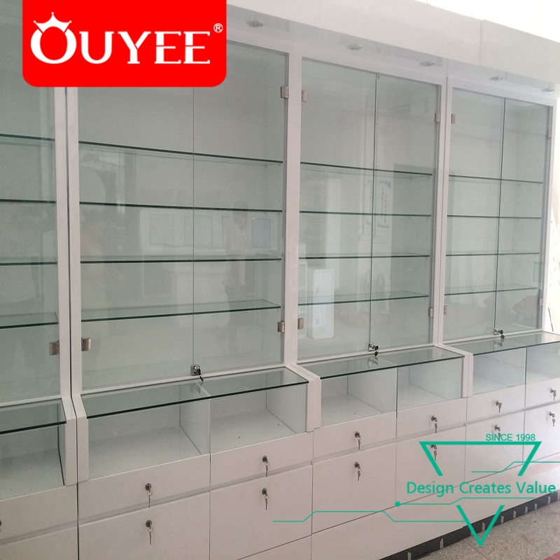 High Level Round Glass Wooden Showcase Electronic Interior <strong>Retail</strong> China Mobile Phone Shop Decoration Design