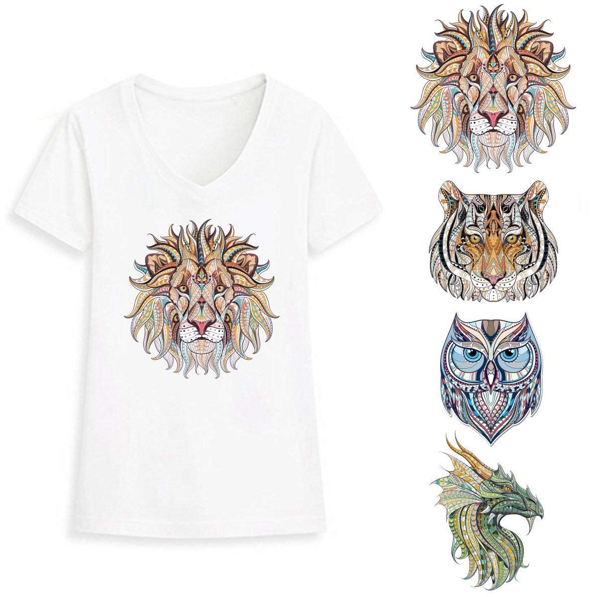Lion Iron On Transfer Stickers for Kids - 4 Pcs Tiger Vinyl Appliques Decoration Patches. Hot Owl Animal Design Tiger Dragon Heat Transfer for DIY Theme Party
