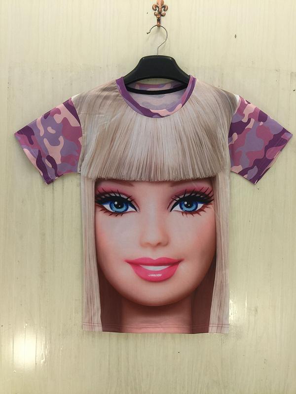 Harajuku женщины майка рубашка комикс Barbie девочка камуфляж 3d-принт футболки женщины милый лето camisetas mujer топы одежда