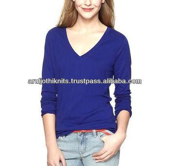 010c78b3122c Women Blank Royal Blue Long Sleeved V Neck T Shirt - Buy Girls Blank ...