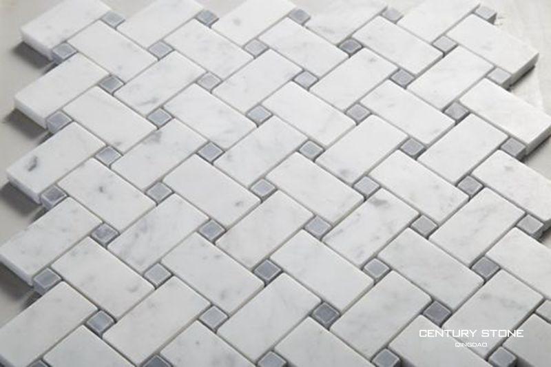Mugwort Blue And Italian Carrara White Marble Mosaic Basket Weave ...