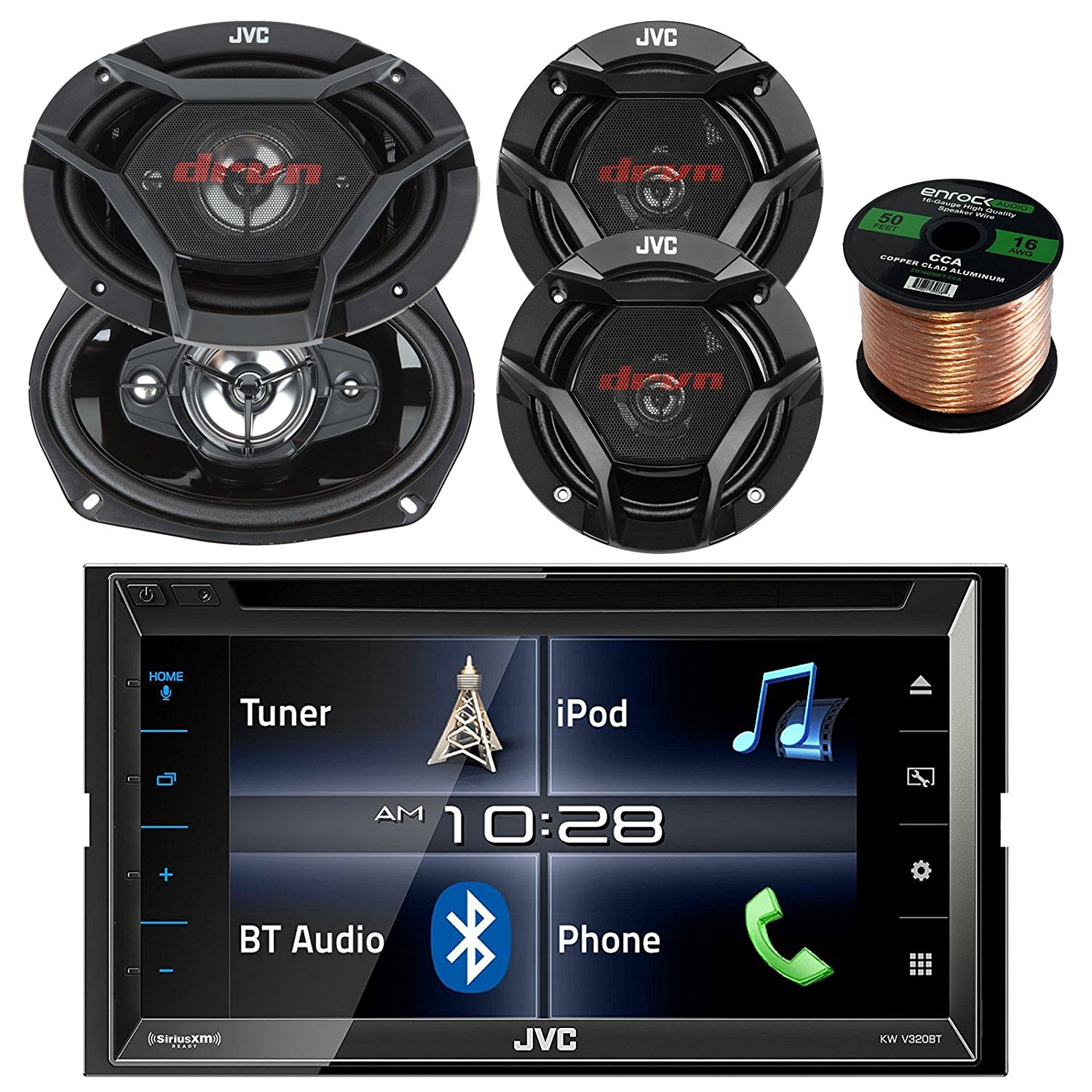 """JVC KWV320BT 6.8"""" Touch Screen Car CD/DVD Bluetooth Stereo Receiver Bundle Combo With 2x 6-3/4"""" 2-Way And 2x 6x9"""" Inch 4-Way Black Audio Coaxial Speakers + Enrock 50 Feet 16-Gauge Speaker Wire"""