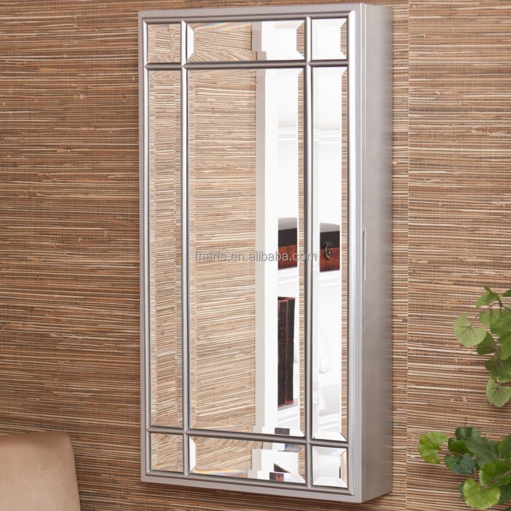 funky muur opknoping sieraden kast zilveren spiegel-houten kasten ...