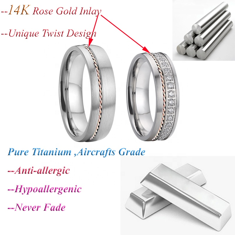 Alliance bijoux bague Real 14k rose gold ring,titanium couple ring, moissanite cz diamond ring