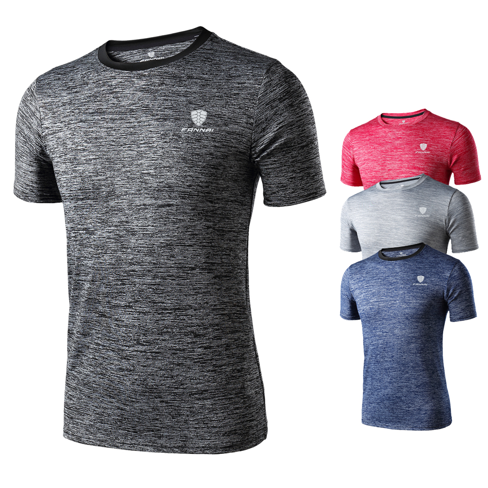 Wholesale Custom Logo Sports Fitness T Shirt  Polyester Quick Dry Breathable