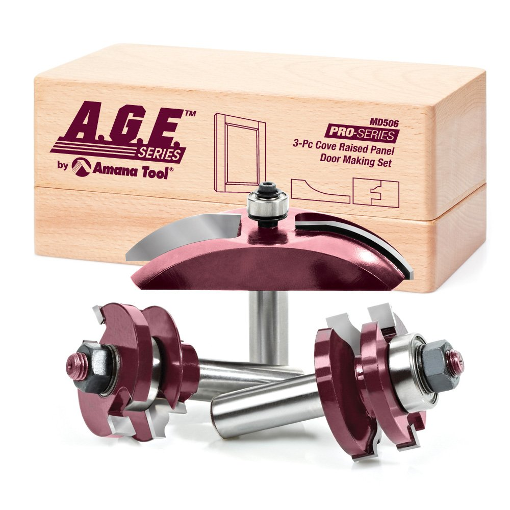 A.G.E. Series by Amana Tool MD506 Cove Raised Panel Door Making Carbide Tipped Router Bit Set with 1/2-Inch Shank, 3-Piece