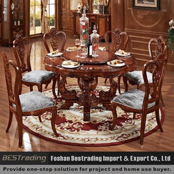 Solid Wooden Round Dining Table With Rotating Centre