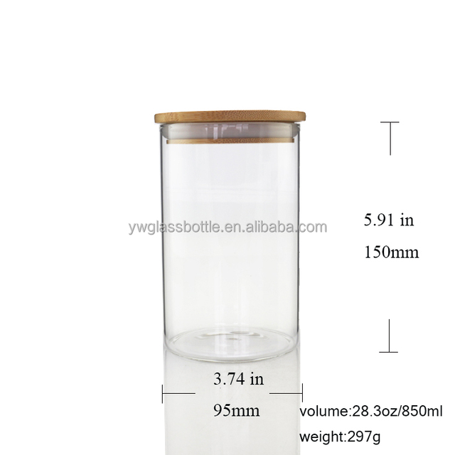 Airtight Herb Glass Storage Jar With Rubber Seal Bamboo Lid 850ml