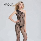 Ladies Pretty Hot Sexy Nylon Butterfly One Shoulder Open Crotch Body Stocking Lingerie